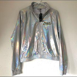 NWT Rare Hologram Iridescent Moto Jacket Coat Sz M